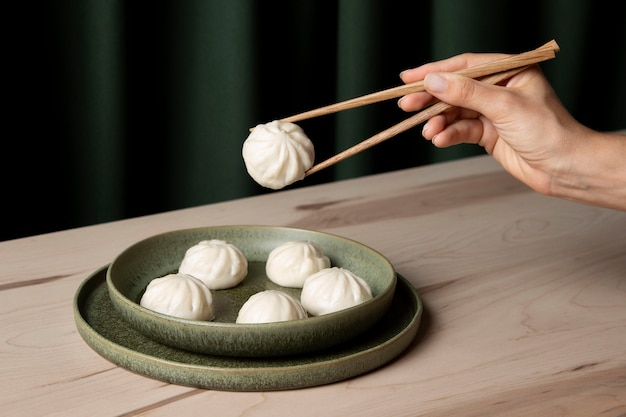 Close-up view of dumplings on wooden table