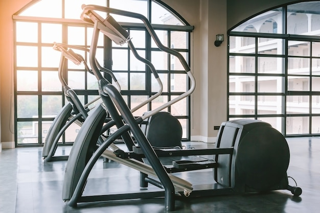 Close up view of elliptical fitness crosstrainer machines