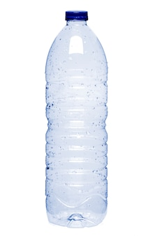 Close up view of an empty plastic water bottle isolated on a white background.