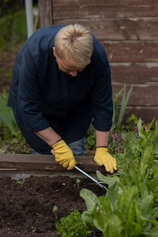 Close up view of female gardener removes weeds from garden with hoe rake