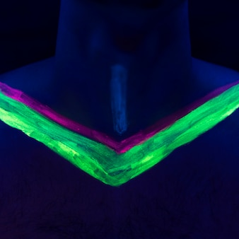 Close-up view of fluorescent make-up