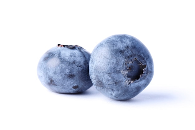 Close-up view of fresh blueberry isolated on white background.