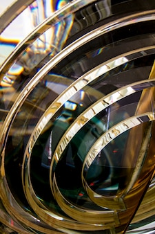 Close up view of the fresnel lens inside a lighthouse.