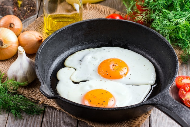 Close up view of the fried egg on a frying pan