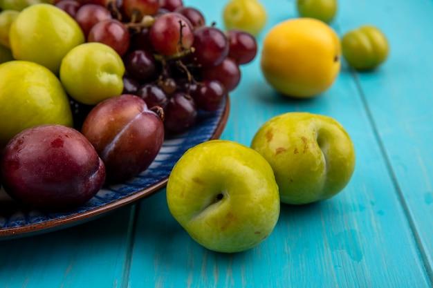 Vista ravvicinata di frutti come pluots nectacots prugne e uva nel piatto e su sfondo blu