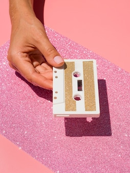 Close-up view of glittery tape