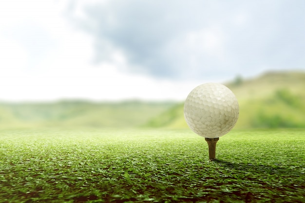 Close up view of golf tee with the ball