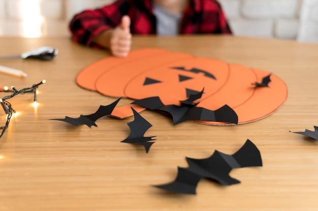 Close-up view of halloween arrangement