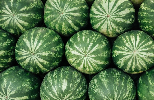 Close-up view of a heap of fresh watermelons