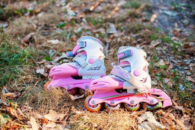 Close up view of inline skate or rollerblade