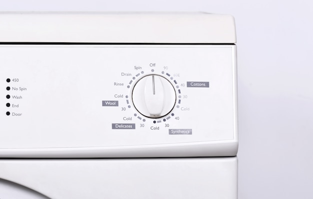 Close up view of instrument panel on washing machine