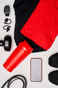 Close-up view of male workout equipment for training at home or in studio or gym on white background. healthy lifestyle concept