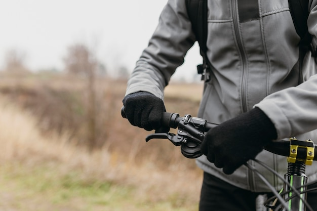 Close-up view of man with handle bar