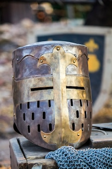 Close up view of a medieval knight great helmet.