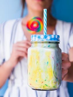 Close-up view of milkshake glass