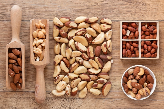 Close-up view of nuts arrangement on wooden table