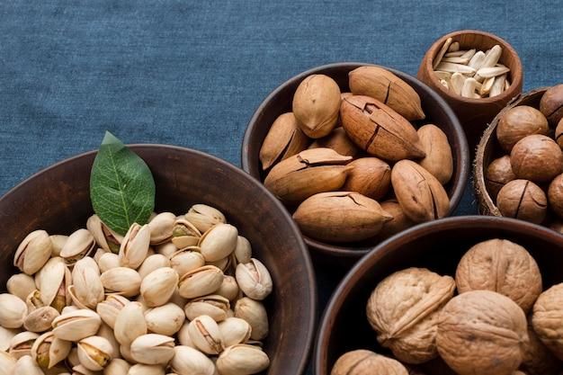 Close-up view of nuts concept arrangement