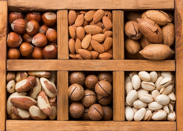 Close-up view of nuts concept arrangement