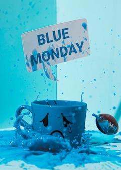 Крупным планом вид концепции синий понедельник