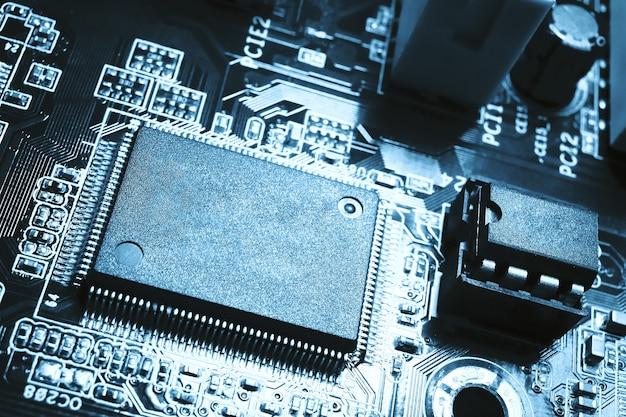 コピースペースマザーボード回路用の中央処理装置cpuブランクマイクロチップの拡大図