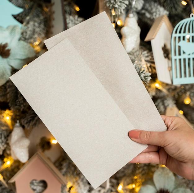Крупным планом рождественская концепция с копией пространства