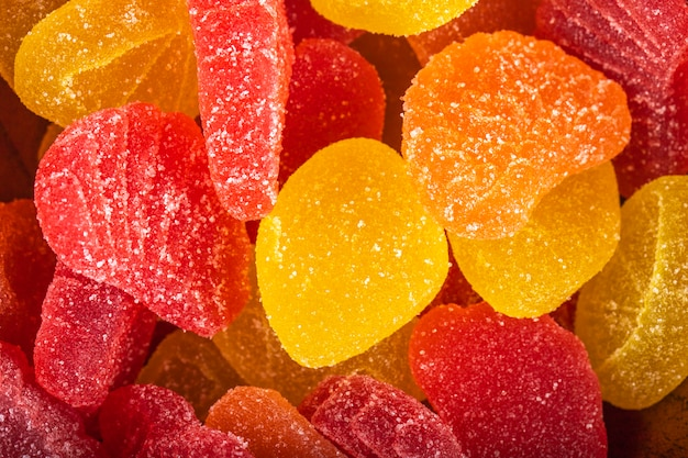 Крупным планом вид красочные вкусные мармеладные конфеты