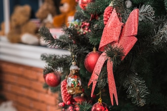 Close up view of decorative christmas tree