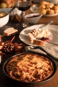 おいしい感謝祭の食事のクローズアップビュー