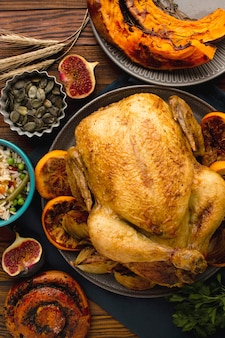 おいしい感謝祭の七面鳥のクローズアップビュー