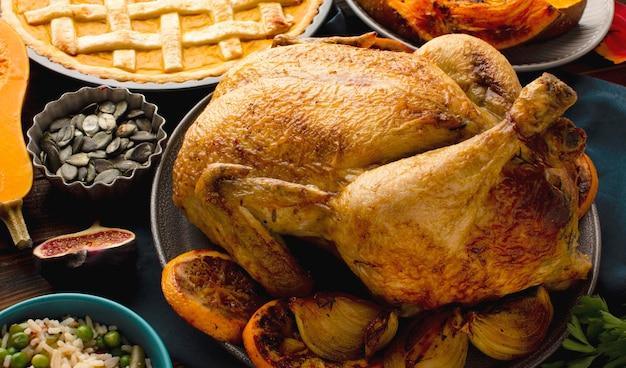 Крупным планом вид вкусной индейки на день благодарения