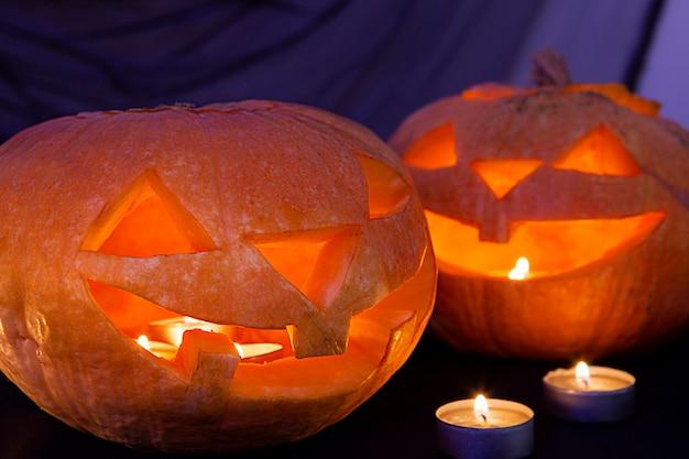 Крупным планом вид тыквы на хэллоуин