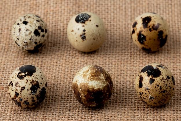 荒布の背景にミニ卵のパターンのクローズアップビュー