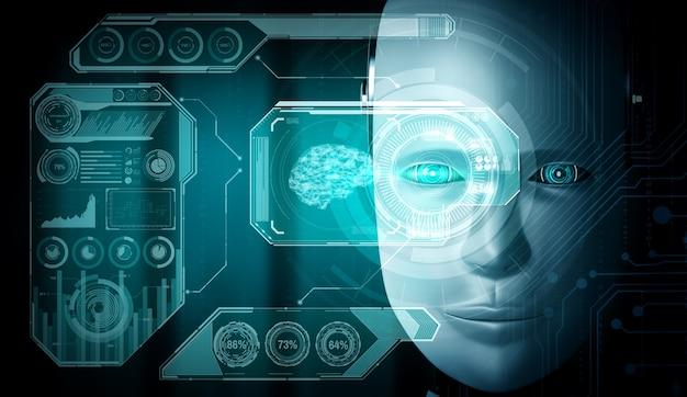 Крупным планом вид лица робота с футуристической графикой