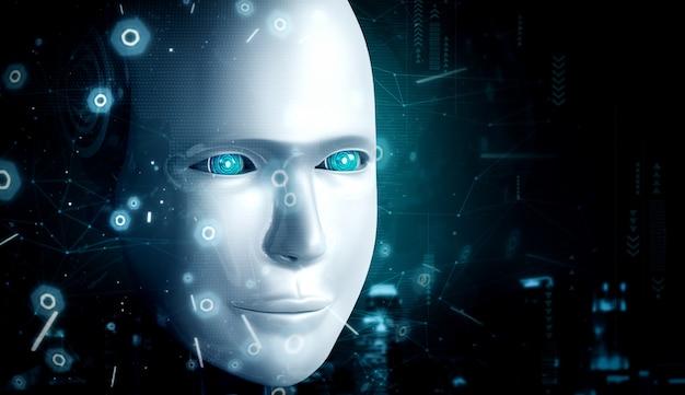 未来的なグラフィックでロボットの顔のクローズアップビュー