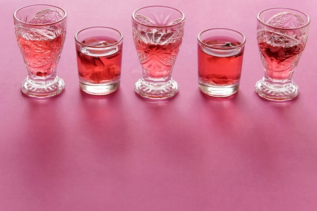 장미 다과 음료의 클로즈업 보기