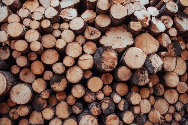 冬に向けて準備された多くの丸太の正面のクローズアップ。自然の背景