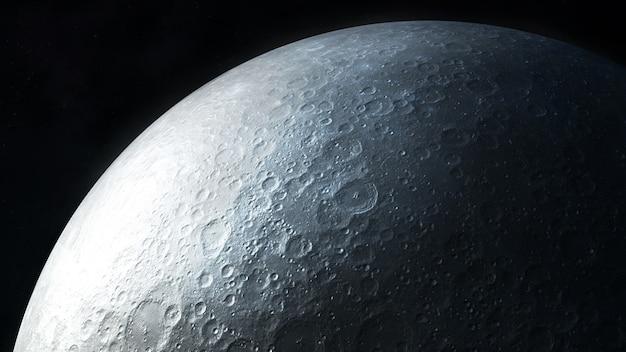 濃い灰色の月面のクローズアップ表示。