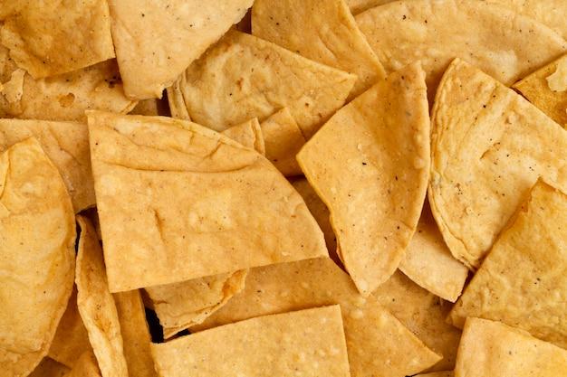 Крупным планом вид чипсов тортилья