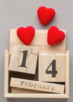 Крупным планом вид дня святого валентина с концепцией сердца