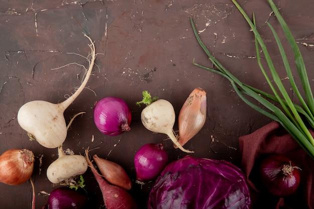 복사 공간 적갈색 배경에 무 양파 보라색 양배추 양파로 야채의 근접 촬영보기