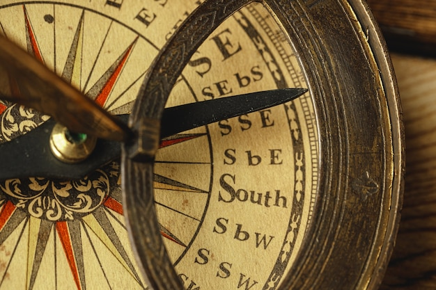Close up view of the old compass