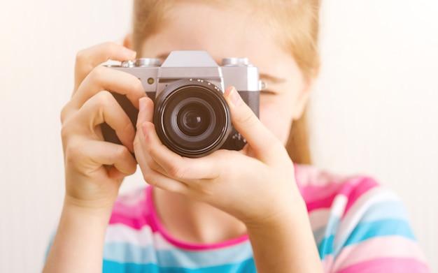 Крупным планом вид на фотоаппарат Premium Фотографии
