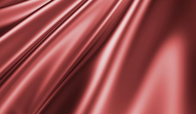 Крупным планом вид на рябую красную шелковую ткань