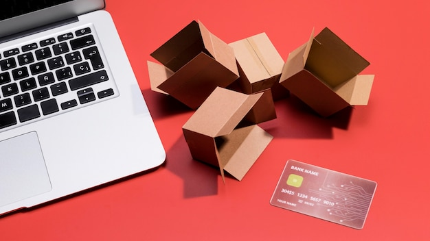 Close-up view of online shopping concept