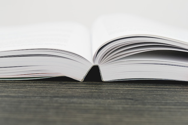 Close up view of an open textbook with copy space