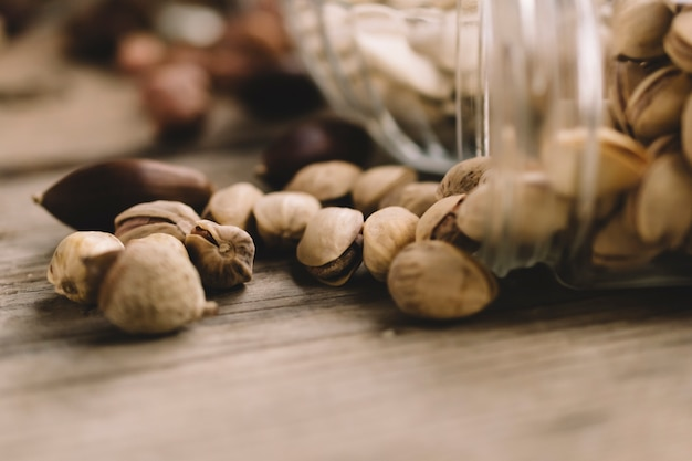 Close up view of pistachios in glass