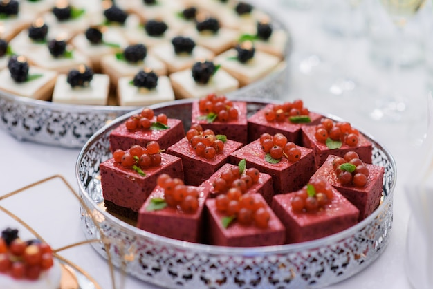 Close up view of  portion mousses desserts decorated with red currant