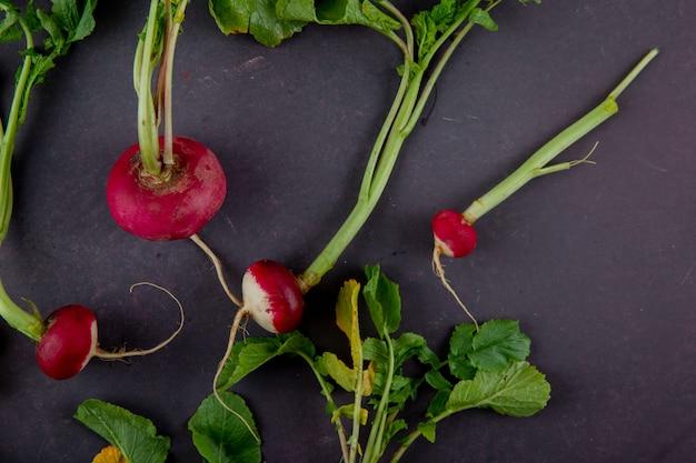 Vista del primo piano dei ravanelli rossi su fondo marrone rossiccio con lo spazio 1 della copia