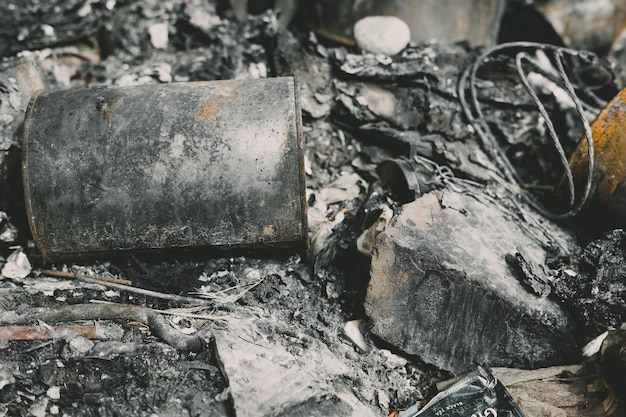 Close up view of remnants of burned down