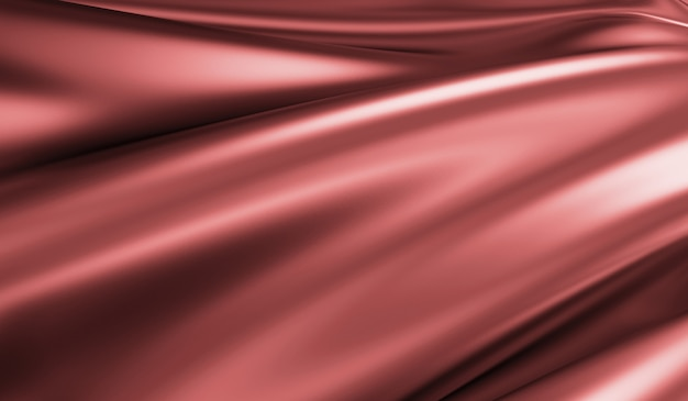 Close up view on rippled red silk fabric in 3d rendering